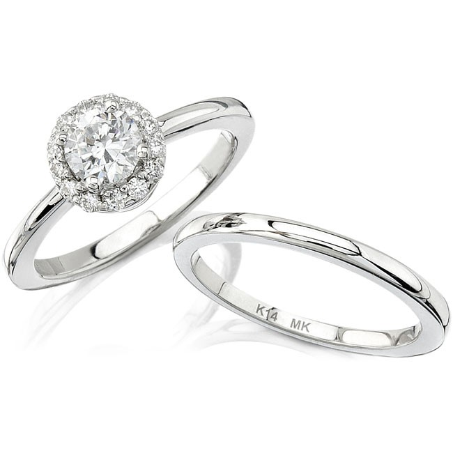 14k White Gold Classic Diamond Halo Semi Mount Engagement Ring Set