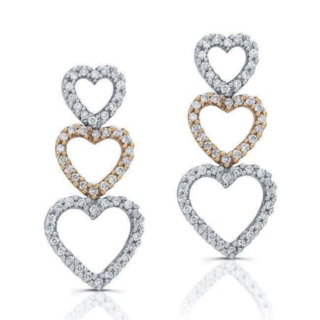 14k White and Rose Gold Diamond Heart Earrings