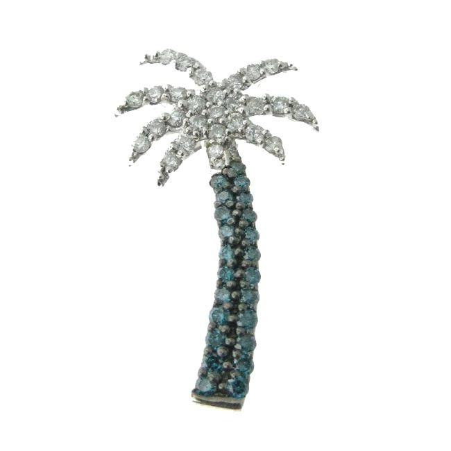 Blue & White Diamond Palm Tree Pendant