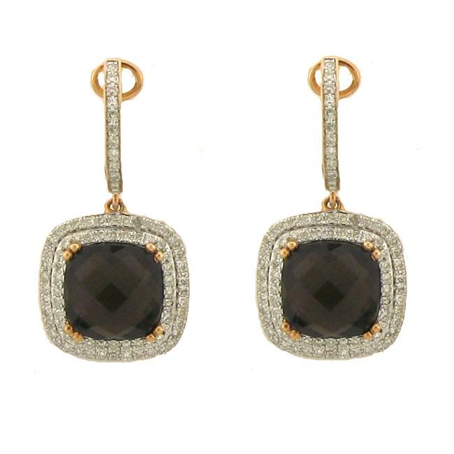 Smoky Topaz & Diamond Earings