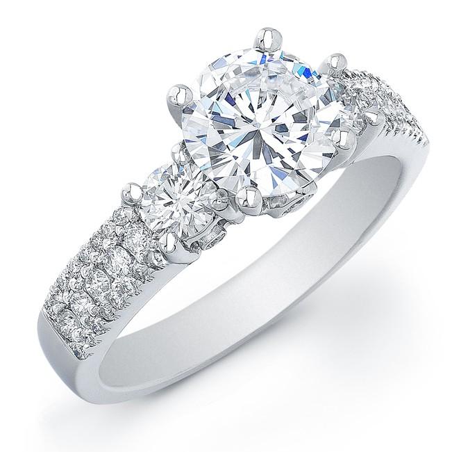 14k White Gold Three Stone Diamond Semi Mount