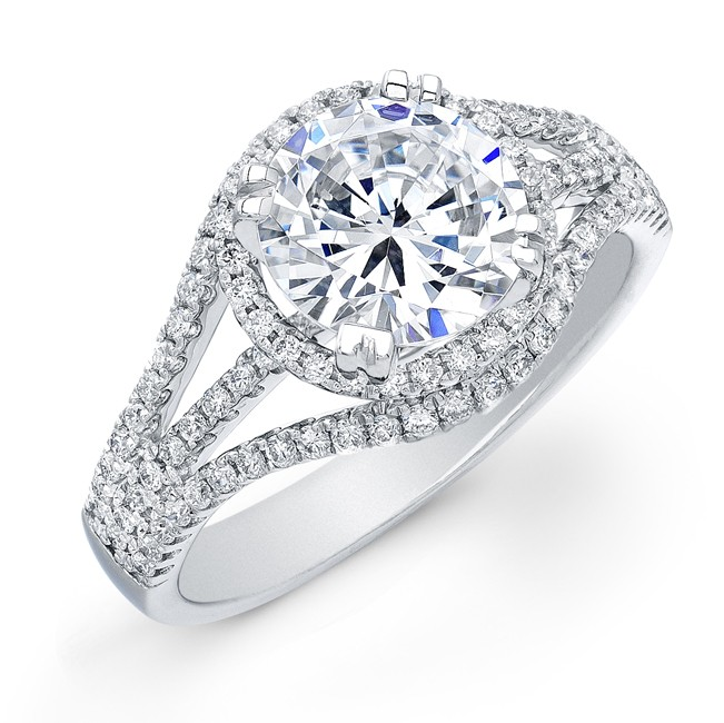 14k White Gold Diamond Halo Semi Mount Engagement Ring