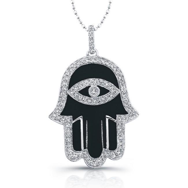 14k White Gold Black Enamel Diamond Hamsa Pendant