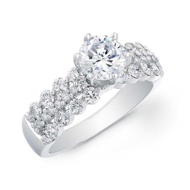 14k White Gold Three Row Prong Set Engagement Ring Semi Mount
