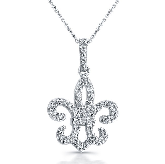 14k White Gold Regal Fleur De Lys Diamond Pendant
