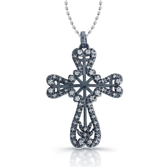 14k Black Gold Diamond Cross Pendant