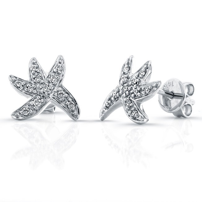 14k White Gold Starfish Diamond Earrings