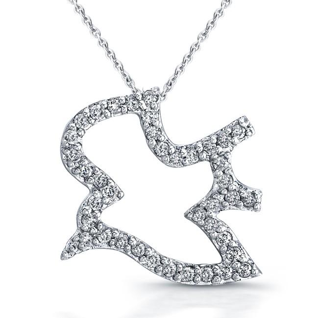 14k White Gold Open Diamond Dove Pendant