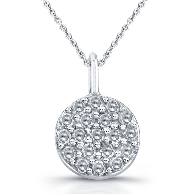 14k White Gold Pave Diamond Pendant