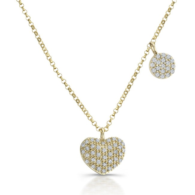 14k Yellow Gold Diamond Pave Heart Disc Necklace