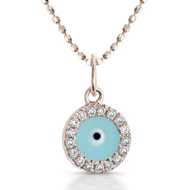 14k Rose Gold Diamond and Enamel Evil Eye Pendant