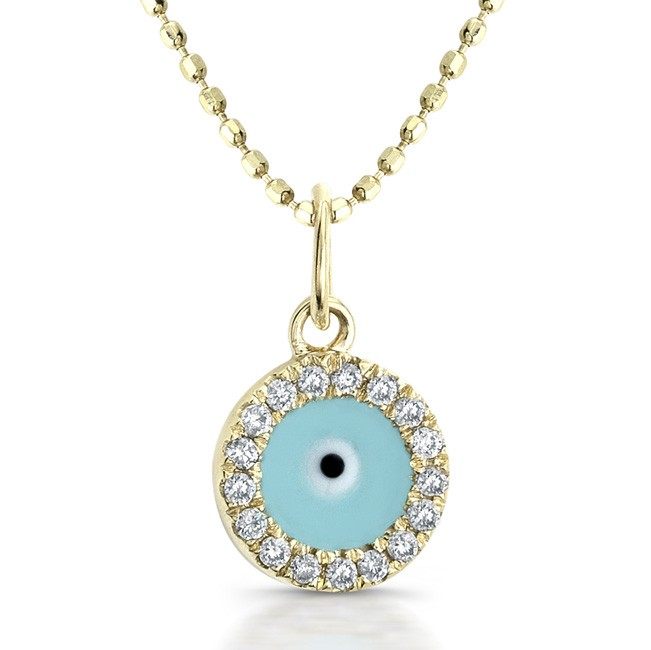 14k Yellow Gold Diamond and Enamel Evil Eye Pendant