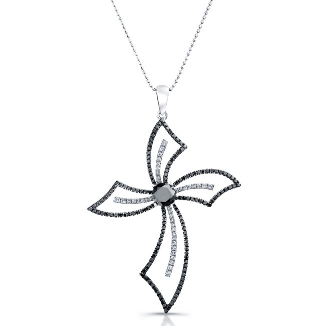 14k White Gold Black and White Diamond Cross Pendant