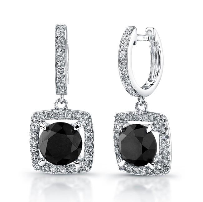 14k White Gold Black Diamond Pave Halo Dangle Earr
