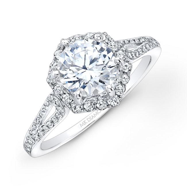 14k White Gold Six Sided Diamond Halo Engagement Ring