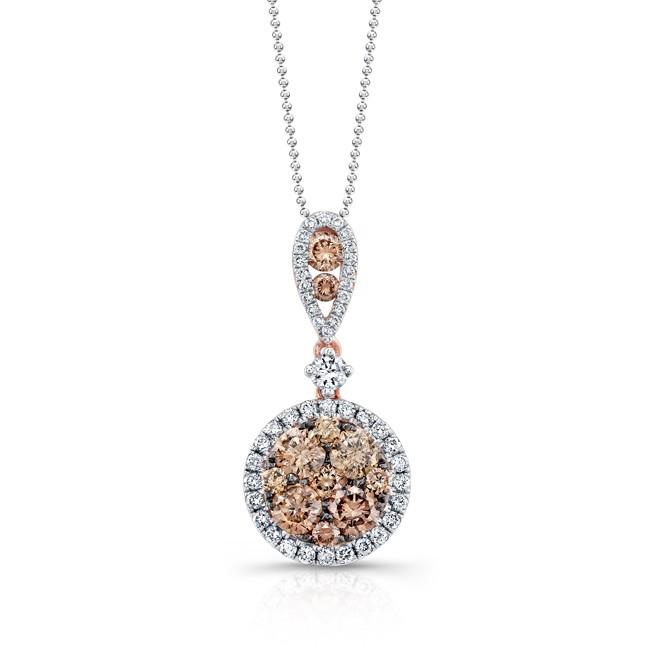 18k Rose and Black Gold Brown Diamond Circle White Diamond Halo Pendant