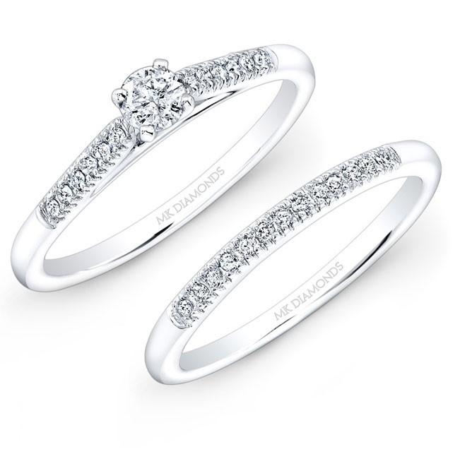 14k White Gold 1/5ct Center White Diamond Pave Bridal Set