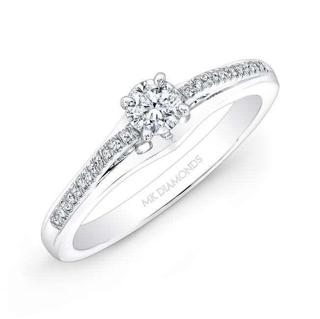 14k White Gold 1/4ct Center White Diamond Pave-Set Engagement Ring