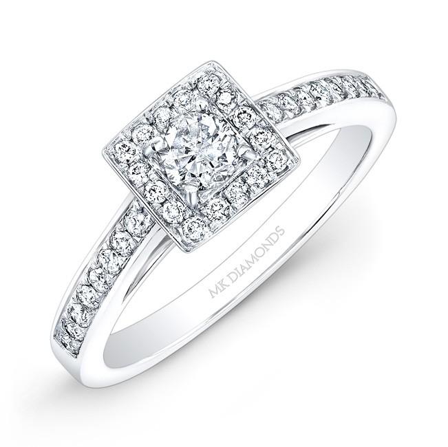 14k White Gold 1/4ct Center White Diamond Square Halo Engagement Ring