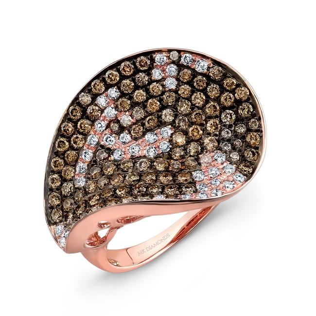 14k Rose and Black Gold Brown Diamond Statement Ring