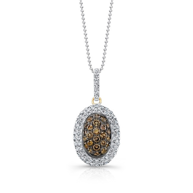 14k Yellow and Black Gold Brown Diamond Oval Halo Pendant