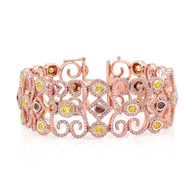 18K Rose Gold Mixed Fancy Color Diamond Accent Pink Diamond Spiral Bracelet