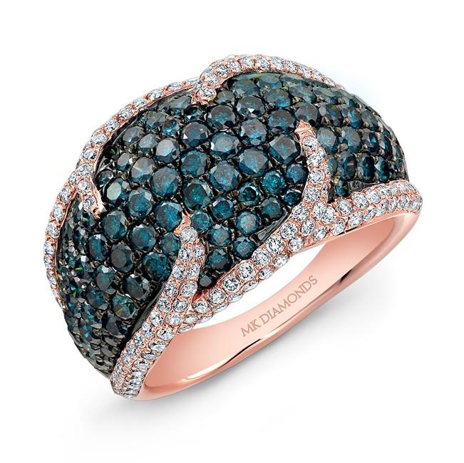 14k Rose and Black Gold Treated Blue Diamond and White Diamond Fashion Band