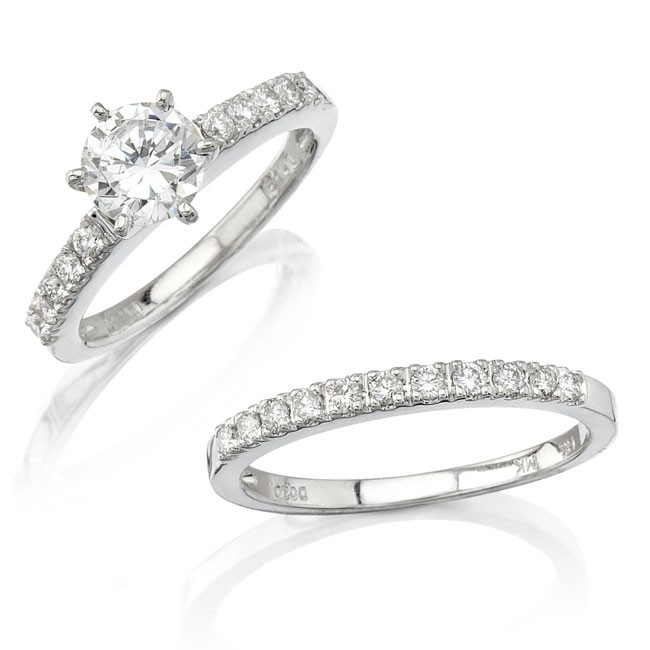 18k White Gold Micro Prong Diamond Engagement Ring Set