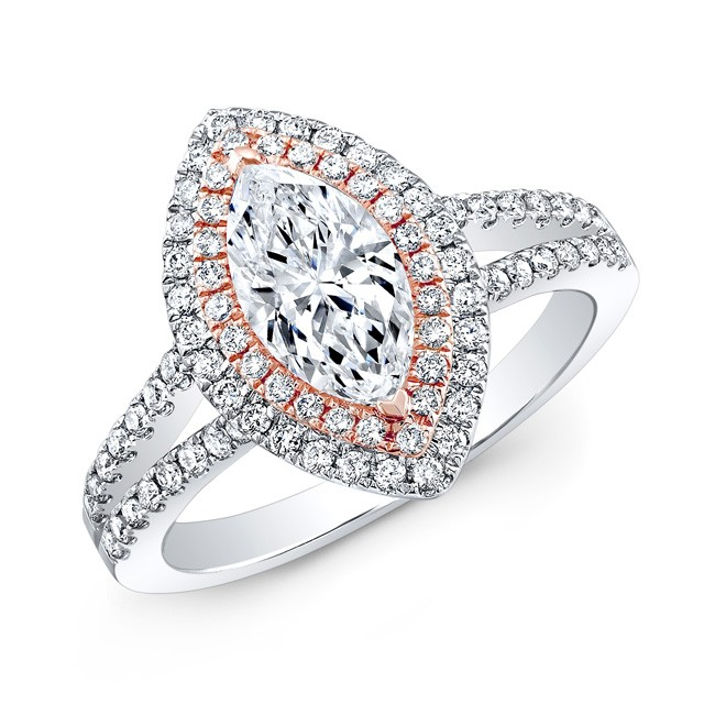 14k White and Rose Gold Double Halo Diamond Engagement Ring for Marquise Center