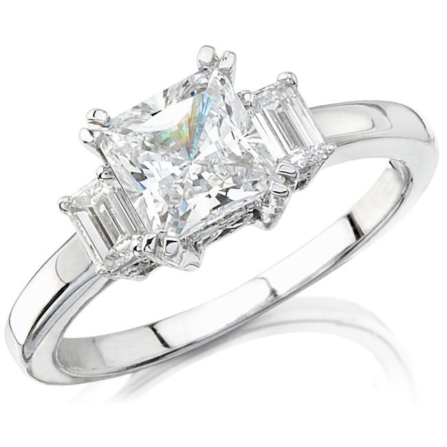 14k White Gold Three Stone Emerald Cut Diamond Semi Mount