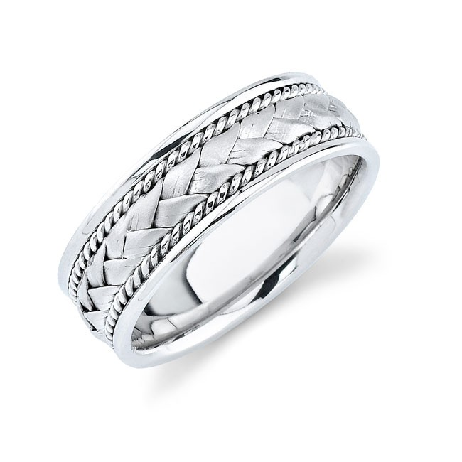14k White Gold Mens Wedding Band With Hand Woven Trim