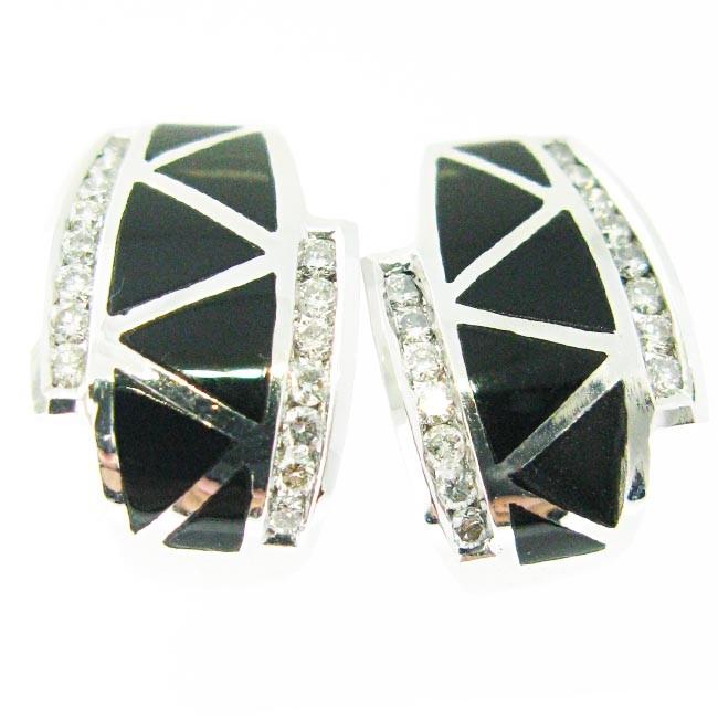 Black Onyx & Diamond Earrings