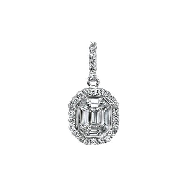 14k White Gold Diamond Mosaic Center Pendant