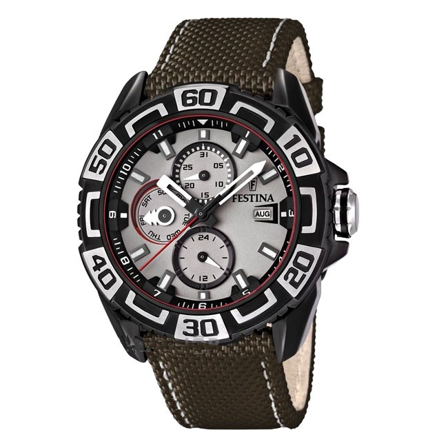 Festina Men's Quartz Watch with Grey Dial Analogue Display and Brown Leather Strap