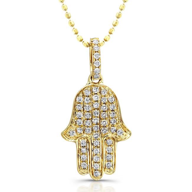 14k Yellow Gold Diamond Pave Hamsa Pendant