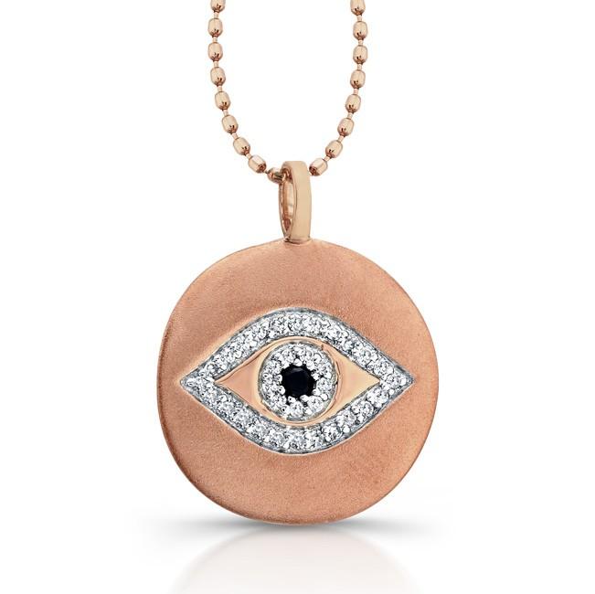 14k Rose Gold Diamond Evil Eye Disk Pendant