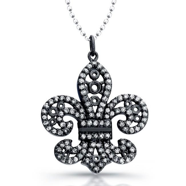 14k Black Gold Diamond Lined Fleur De Lys Pendant