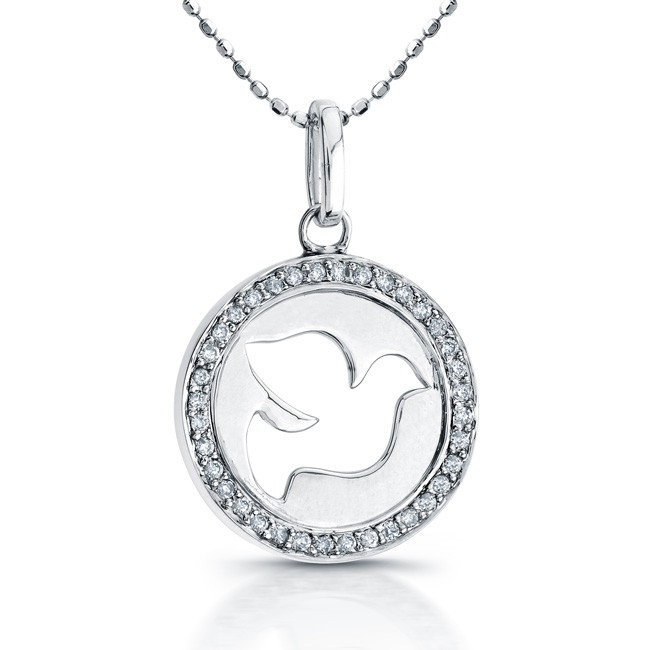 14k White Gold Diamond Cut-Out Dove Disk Pendant