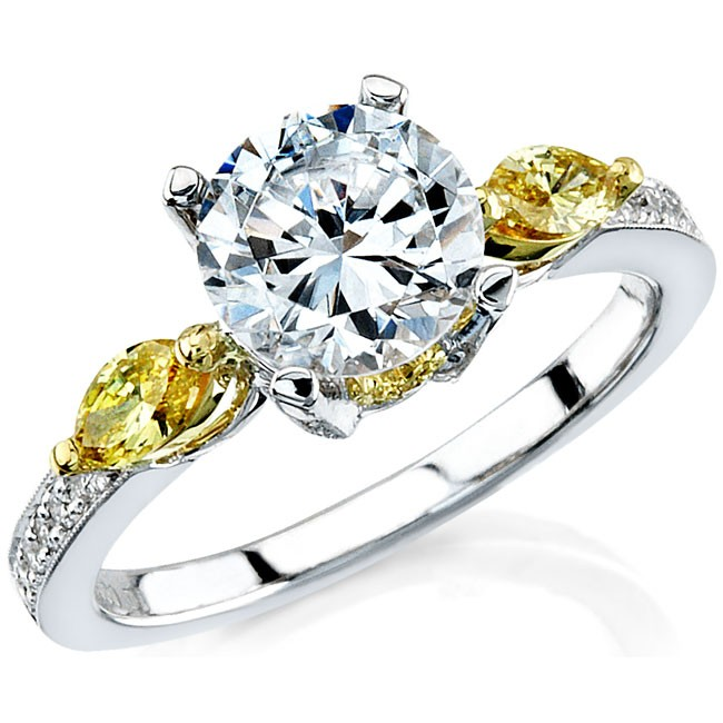 18k White and Yellow Gold Golden Marquise Diamond Side Stone Bridal Set