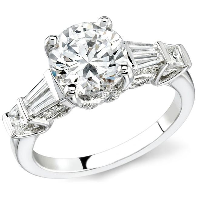 14k White Gold Pave and Channel Set Princess Cut Diamond Semi Mount