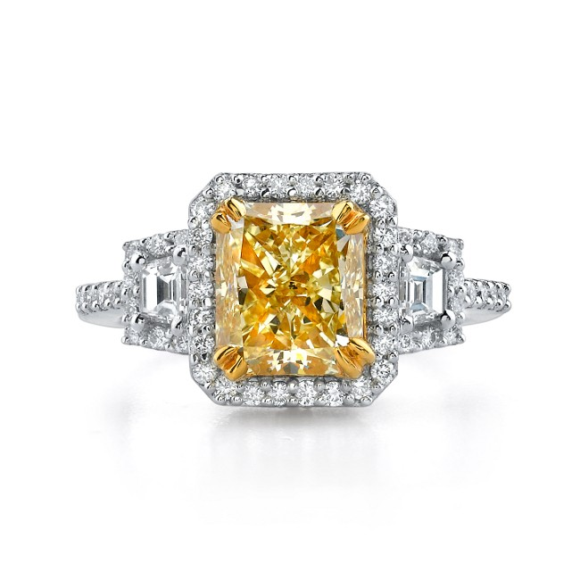 18k White and Yellow Gold Radiant Fancy Yellow Three Stone Diamond Engagement Ring