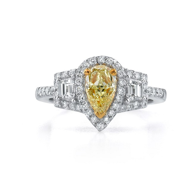 18k White and Yellow Gold Pear Shaped Fancy Yellow Diamond Three Stone Engagement Ring