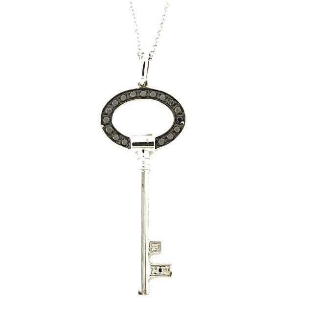 Black & White Diamond Key Pendant
