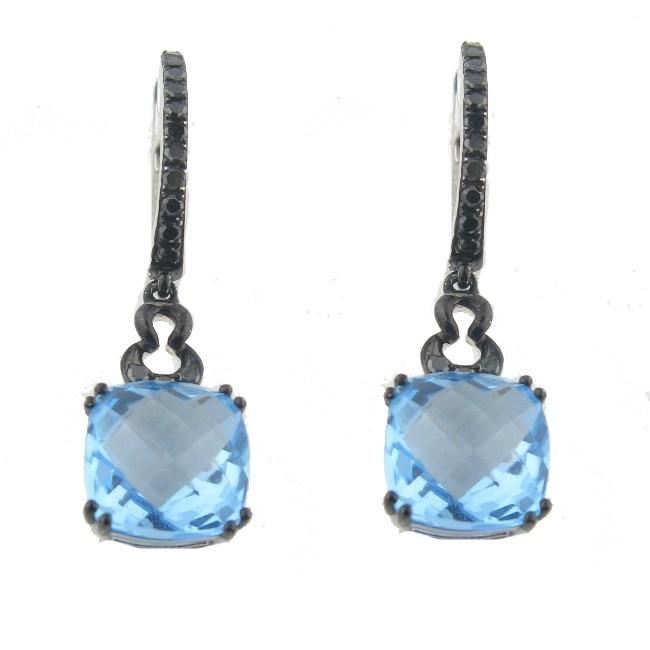 Blue Topaz & Black diamond Earrings