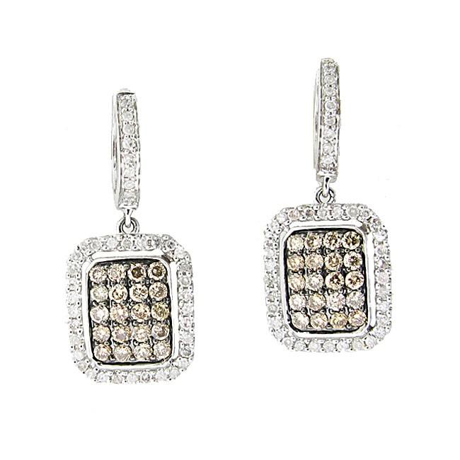 Brown and White Diamond Earrings