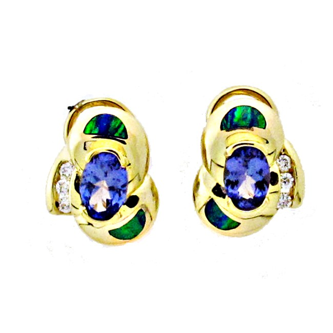 Gilson Opal, Tanzanite & Diamond Earrings