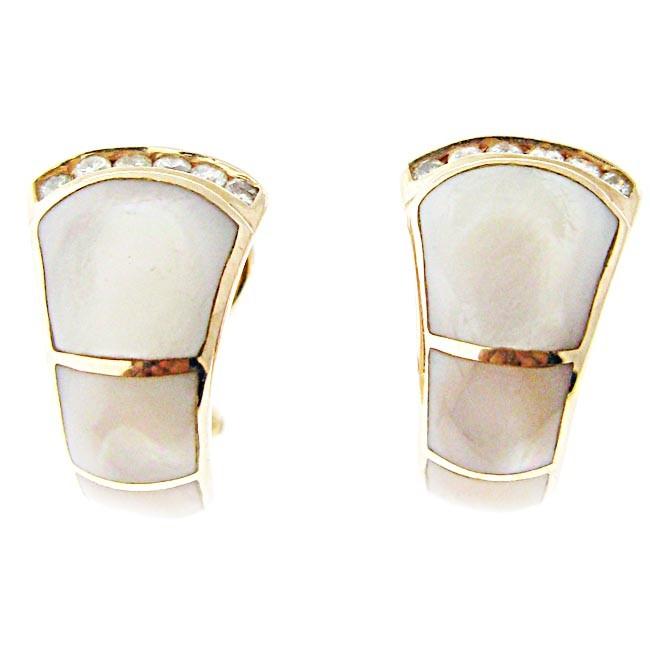 Mother Of Pearl & Diamond Earrings