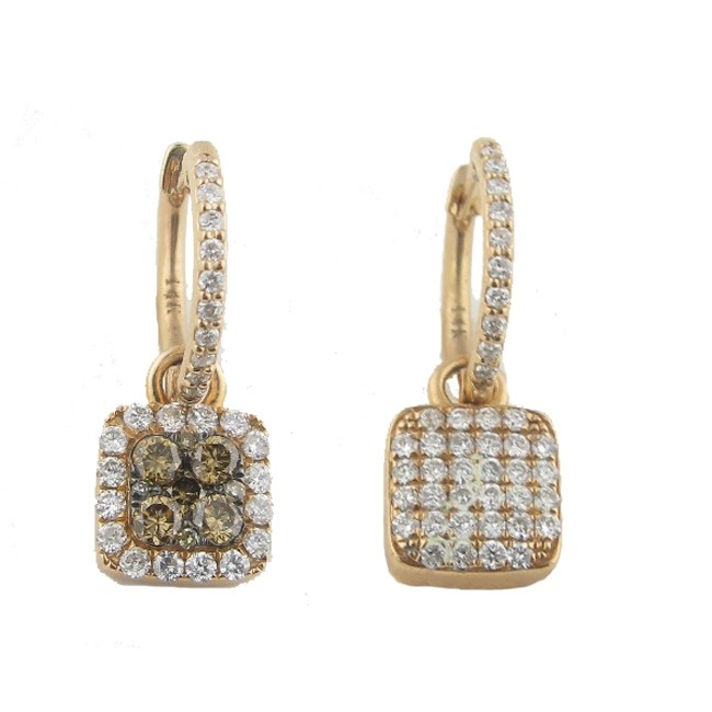 Toffee Brown & Diamond Earrings