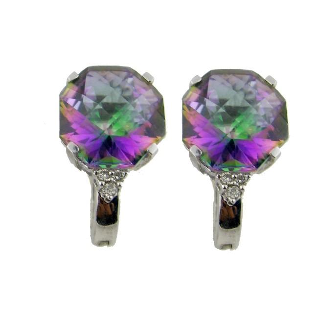 Rainbow Topaz & Diamonds Earrings