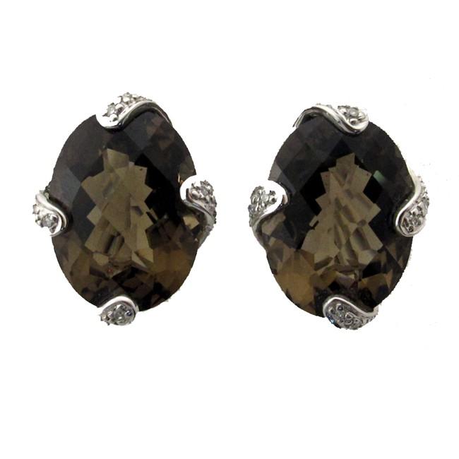 Smoky Tobaz and Diamond Earrings